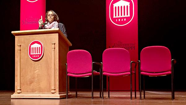 Keynote speaker Rose Jackson Flenorl, a manager in the internationally-recognized FedEx Global Citizenship group, delivered an inspirational message to students and told about her journey to becoming the first African-American woman to earn a place in the University of Mississippi's Hall of Fame.